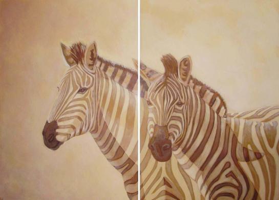 Cebras. Acrilico sobre dos tablas. 110x80