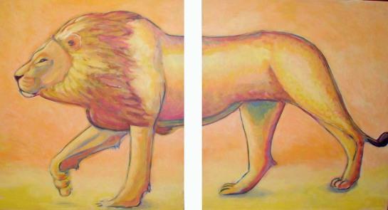 León. Acrilico sobre tabla. 110x60