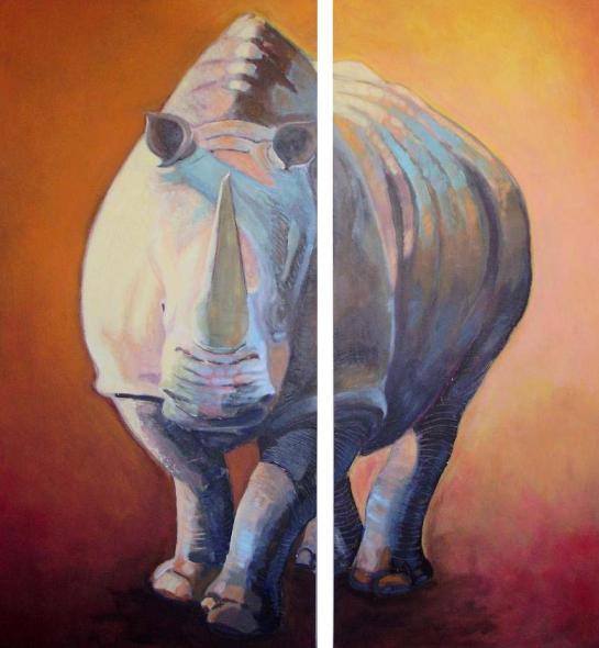 Rinoceronte. Acrilico sobre dos tablas. 110x100